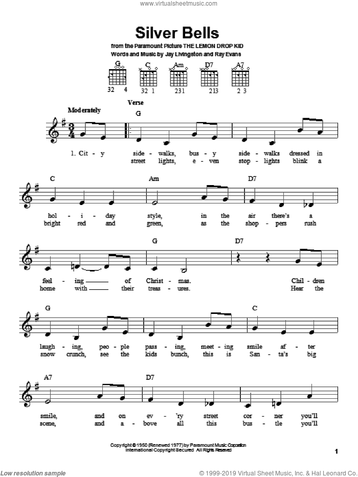 Silver Bells sheet music for guitar solo (chords) by Jay Livingston and Ray Evans, easy guitar (chords)