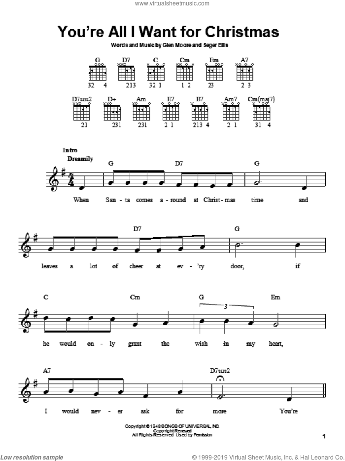 You're All I Want For Christmas sheet music for guitar solo (chords) by Brook Benton, Glen Moore and Seger Ellis, easy guitar (chords)