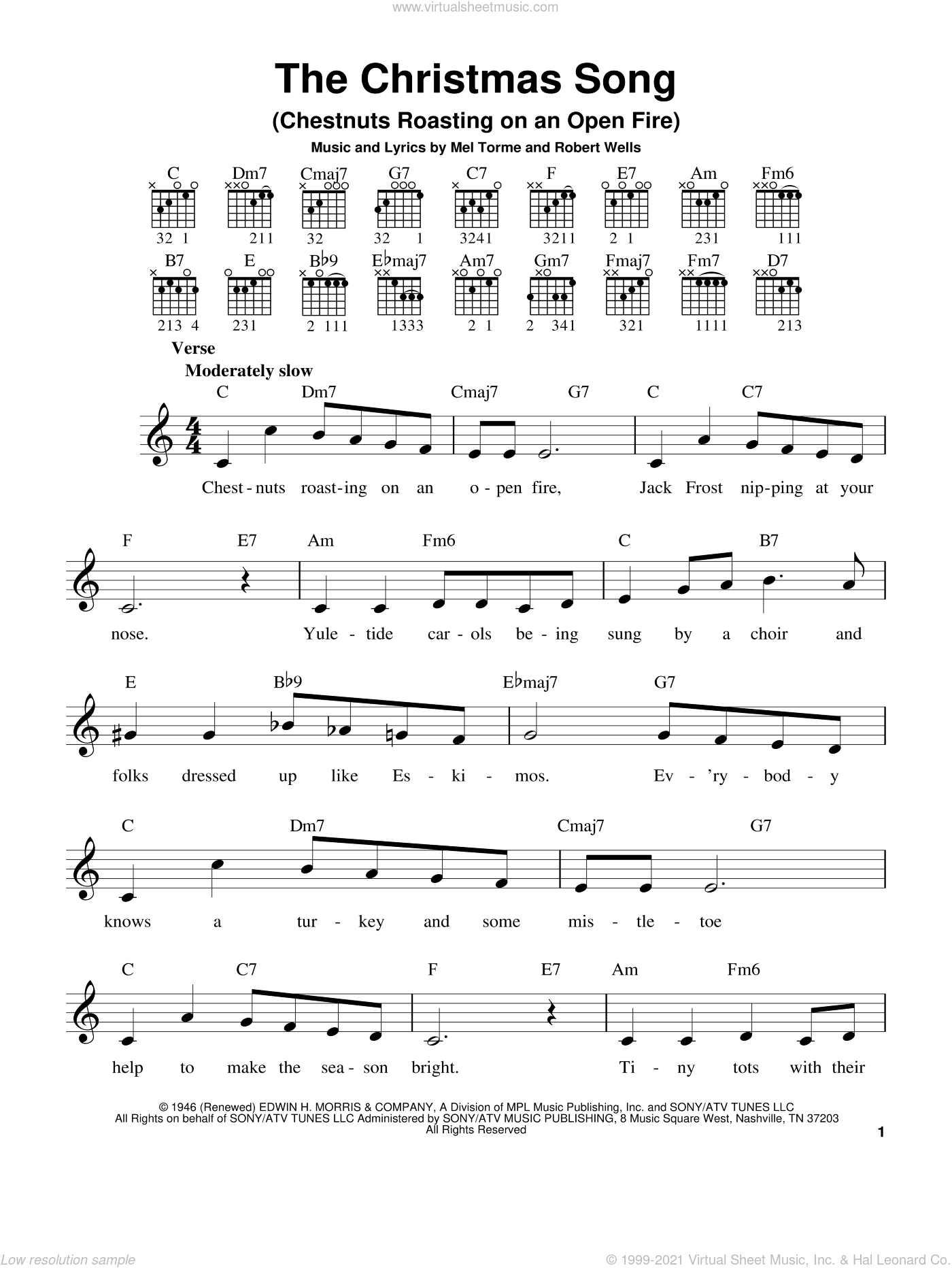 The Christmas Song (Chestnuts Roasting On An Open Fire), (easy) sheet music for guitar solo (chords) by Mel Torme and Robert Wells, easy guitar (chords)