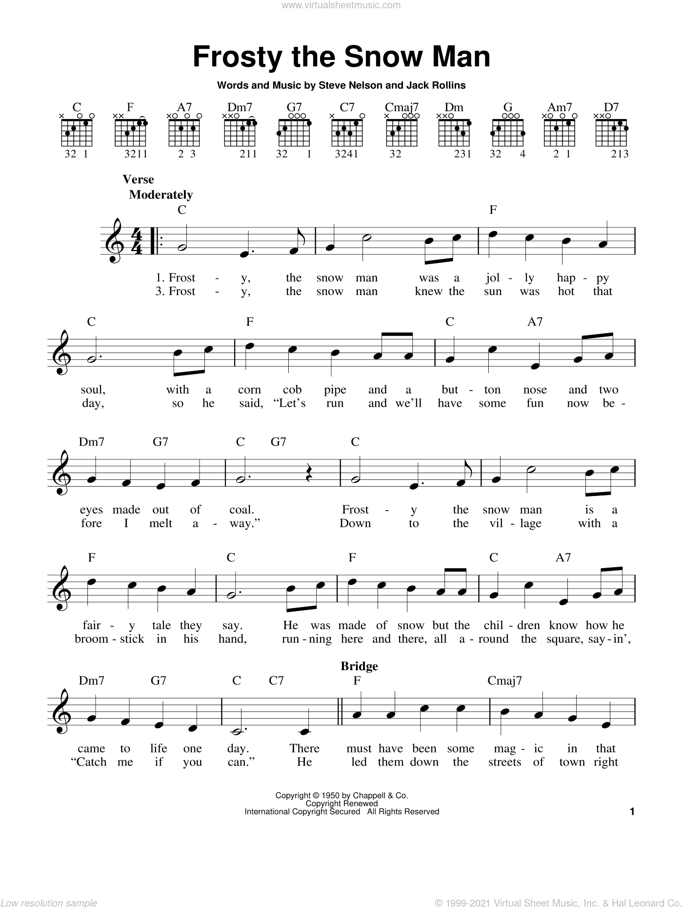 Frosty The Snow Man sheet music for guitar solo (chords) by Gene Autry, Jack Rollins and Steve Nelson