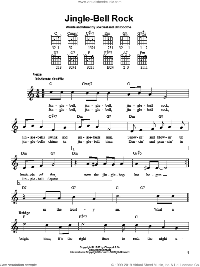 Jingle-Bell Rock sheet music for guitar solo (chords) by Joe Beal, Bobby Helms and Jim Boothe