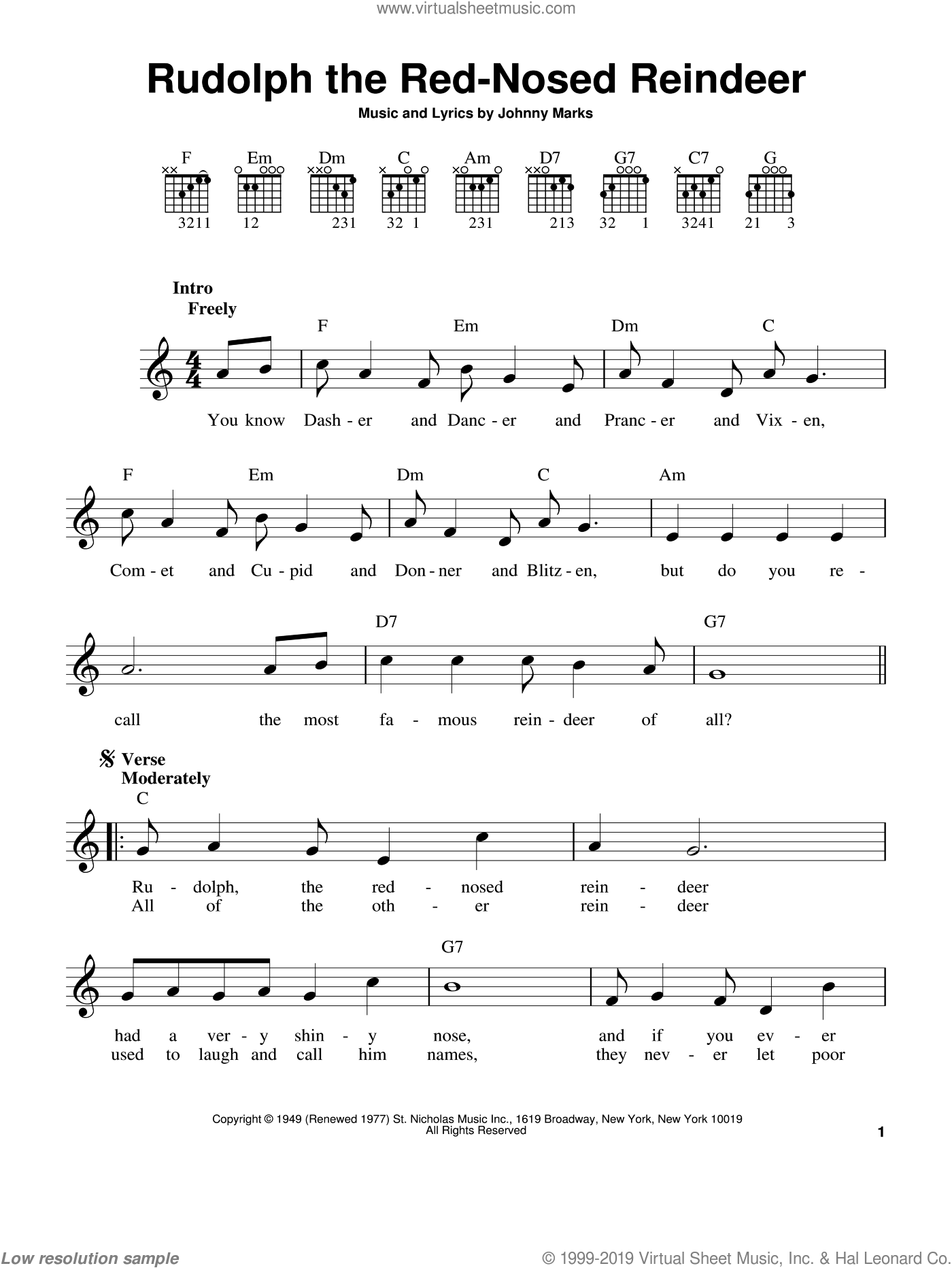 Rudolph The Red-Nosed Reindeer sheet music for guitar solo (chords) by Johnny Marks, easy guitar (chords)