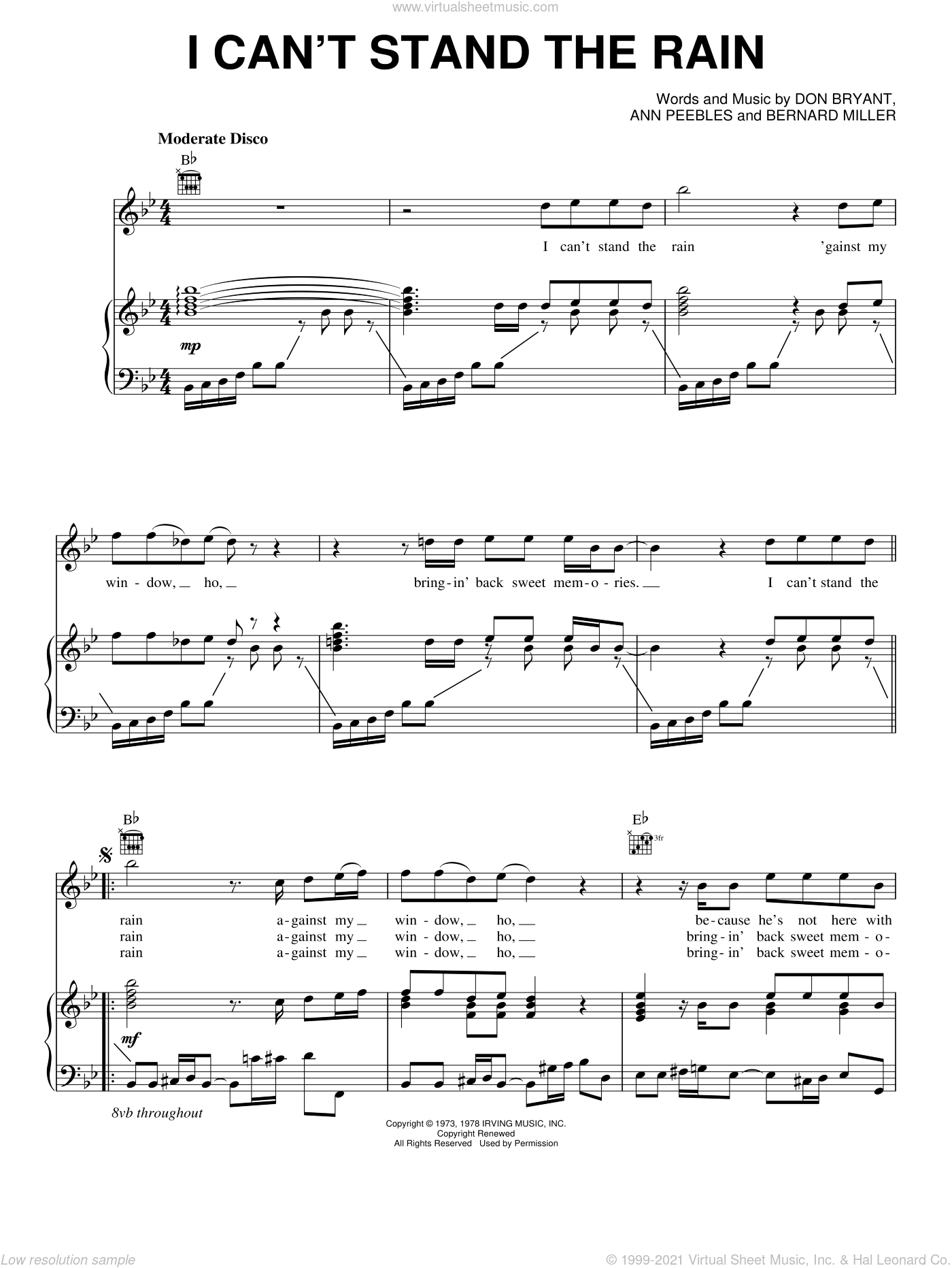 I Can't Stand The Rain sheet music for voice, piano or guitar by Don Bryant