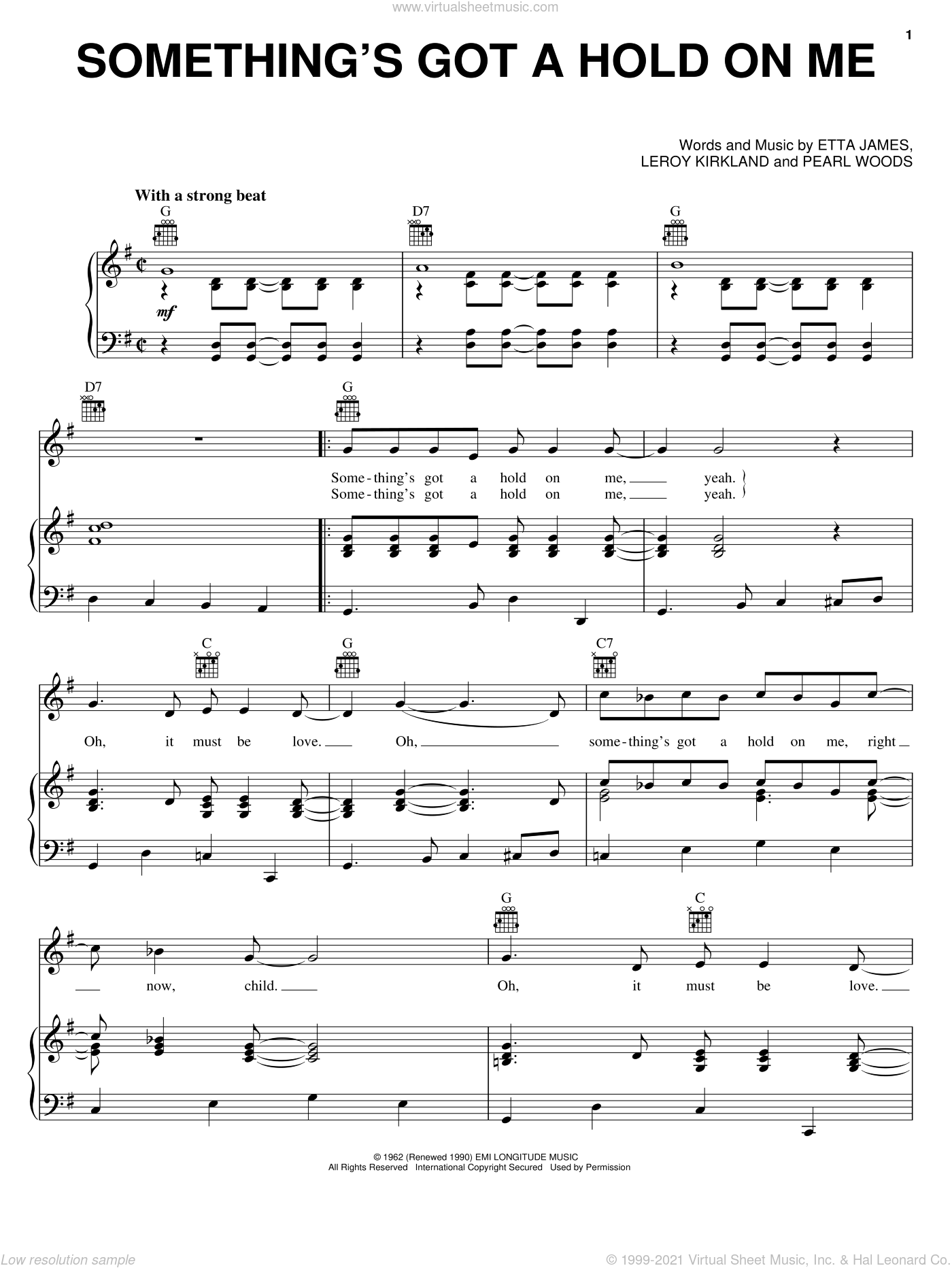 Something's Got A Hold On Me sheet music for voice, piano or guitar by Etta James, intermediate. Score Image Preview.