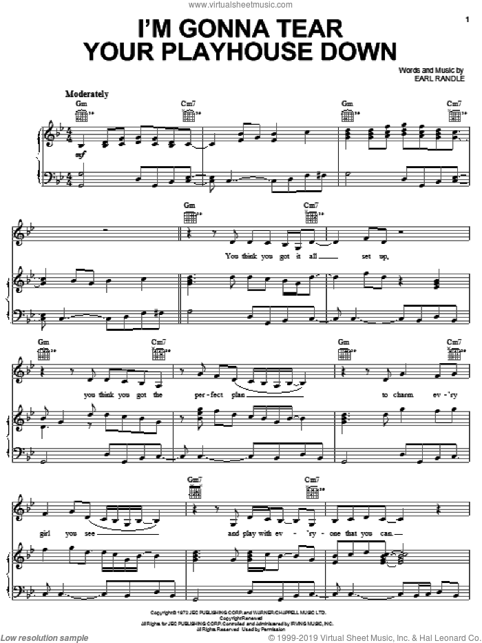 I'm Gonna Tear Your Playhouse Down sheet music for voice, piano or guitar by Ann Peebles and Earl Randle, intermediate skill level