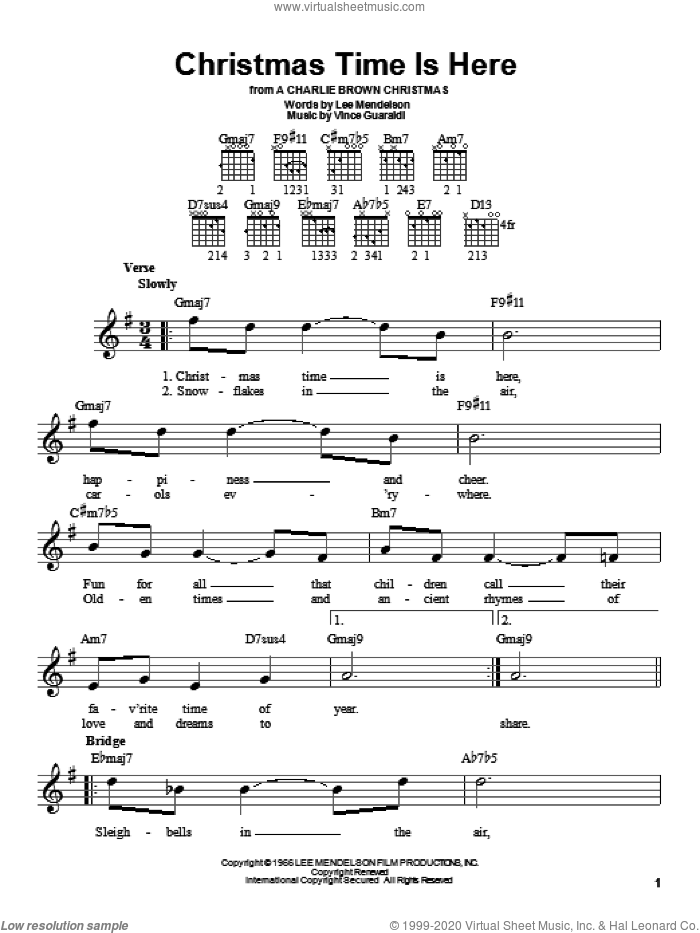 Christmas Time Is Here sheet music for guitar solo (chords) by Lee Mendelson and Vince Guaraldi. Score Image Preview.