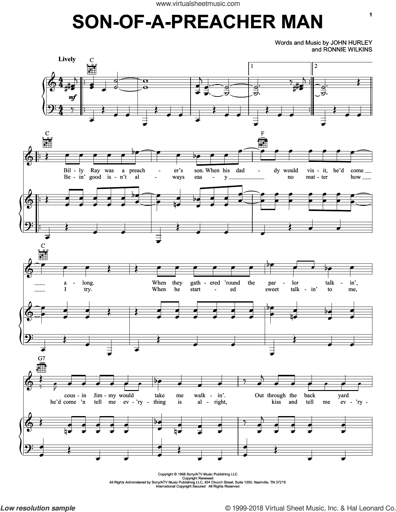 Son-Of-A-Preacher Man sheet music for voice, piano or guitar by Dusty Springfield, John Hurley and Ronnie Wilkins, intermediate skill level