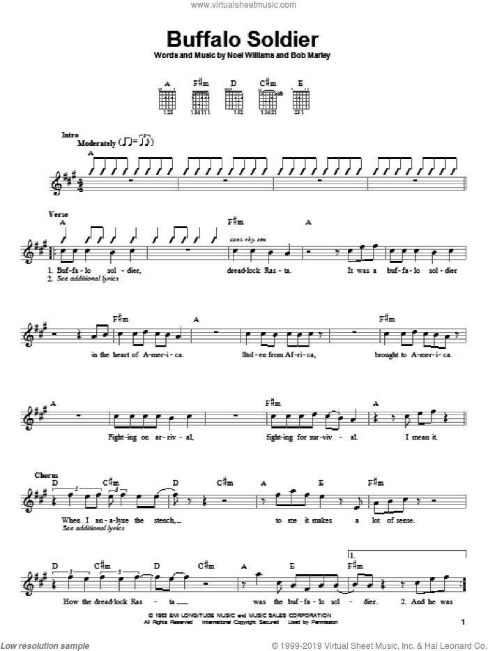 Buffalo Soldier sheet music for guitar solo (chords) by Noel Williams and Bob Marley. Score Image Preview.