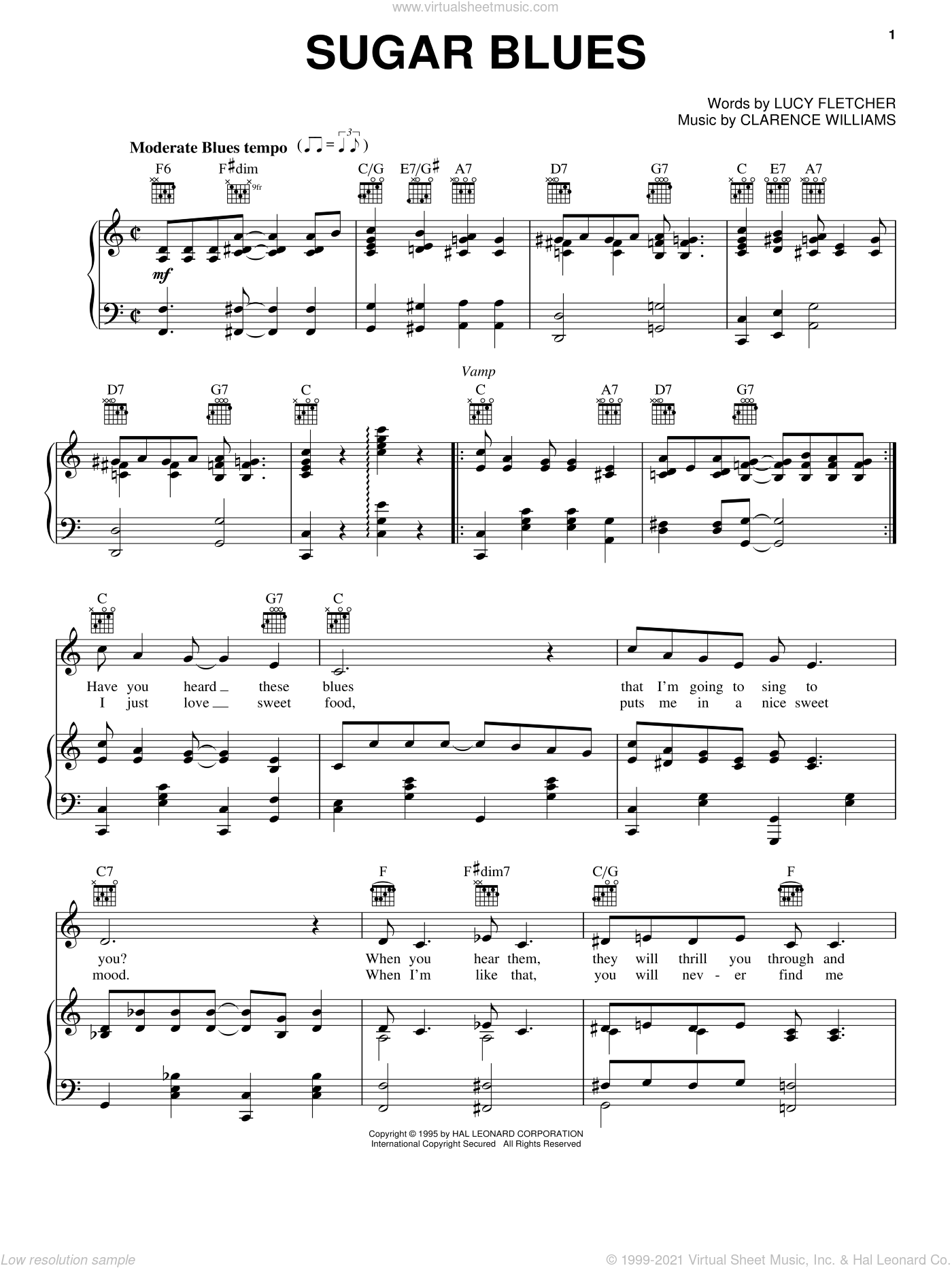 Sugar Blues sheet music for voice, piano or guitar by Clyde McCoy and his Orchestra, Clarence Williams and Lucy Fletcher, intermediate skill level