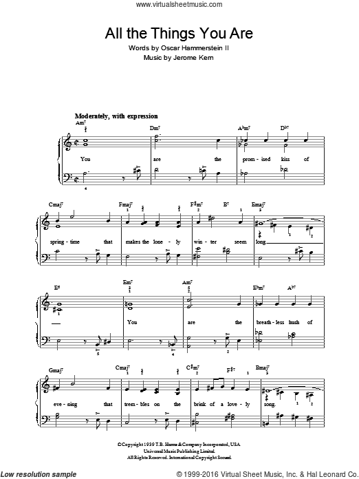 All The Things You Are sheet music for voice, piano or guitar by Oscar Hammerstein and Jerome Kern. Score Image Preview.