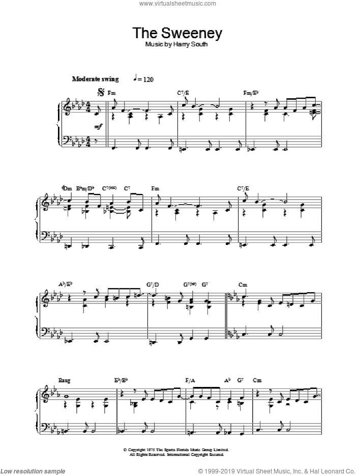 Theme from The Sweeney sheet music for piano solo by Bobby Scott