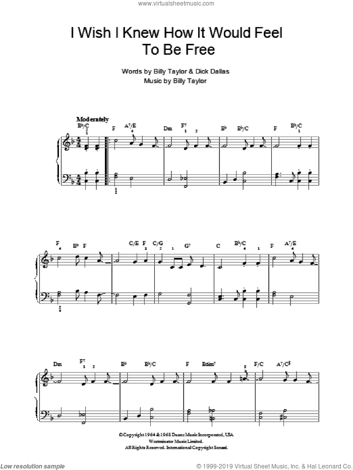 I Wish I Knew How It Would Feel To Be Free sheet music for piano solo by Billy Taylor, Dick Dallas and Miscellaneous, intermediate skill level