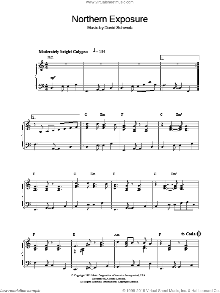 Northern Exposure sheet music for piano solo by David Schwartz. Score Image Preview.
