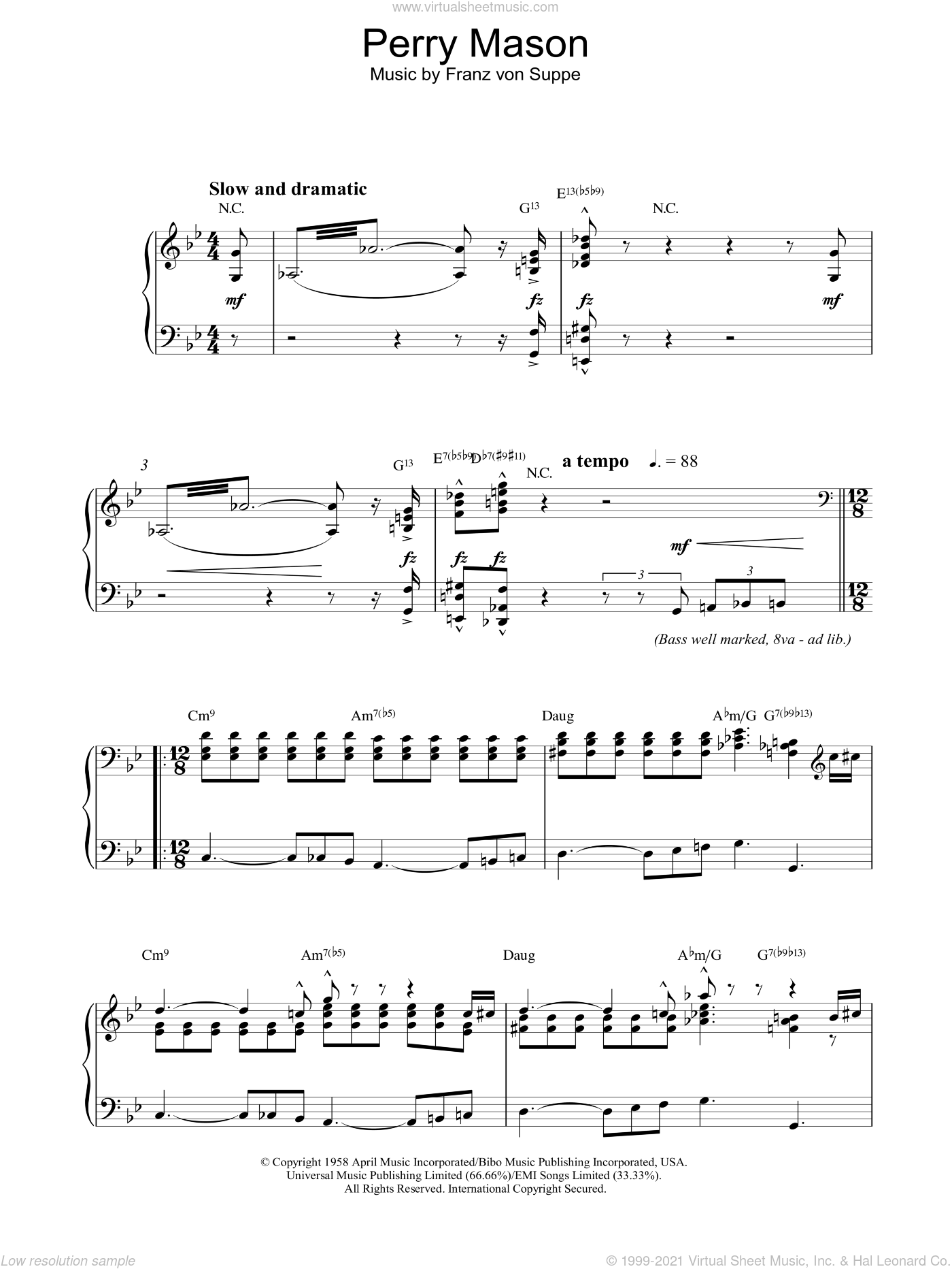 Theme from Perry Mason sheet music for piano solo by Fred Steiner and Franz Von Suppe, intermediate skill level