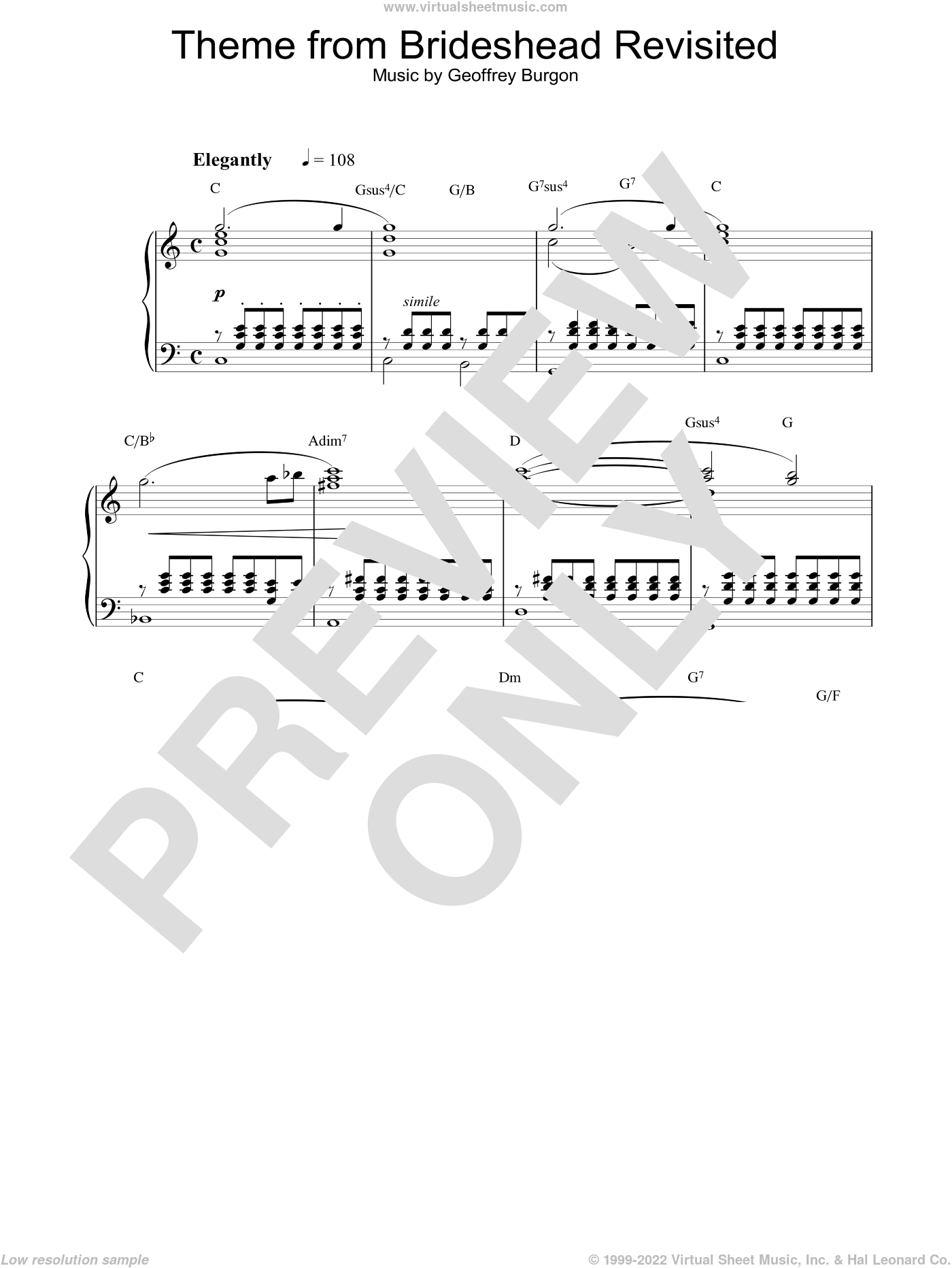 Brideshead Revisited sheet music for piano solo by Geoffrey Burgon. Score Image Preview.