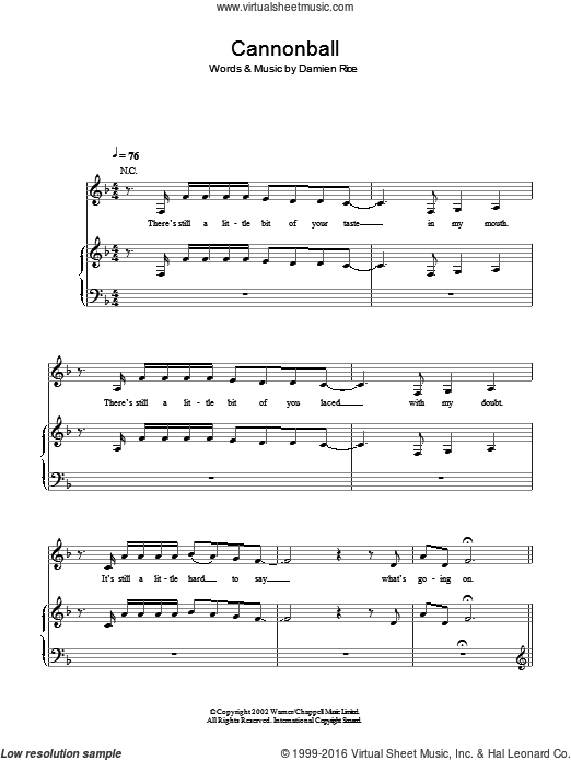 Cannonball sheet music for voice, piano or guitar by Little Mix and Damien Rice. Score Image Preview.