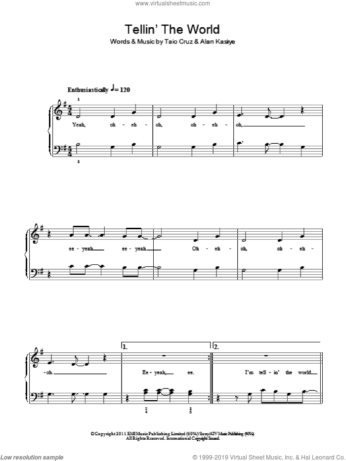 Telling The World sheet music for piano solo by Taio Cruz. Score Image Preview.