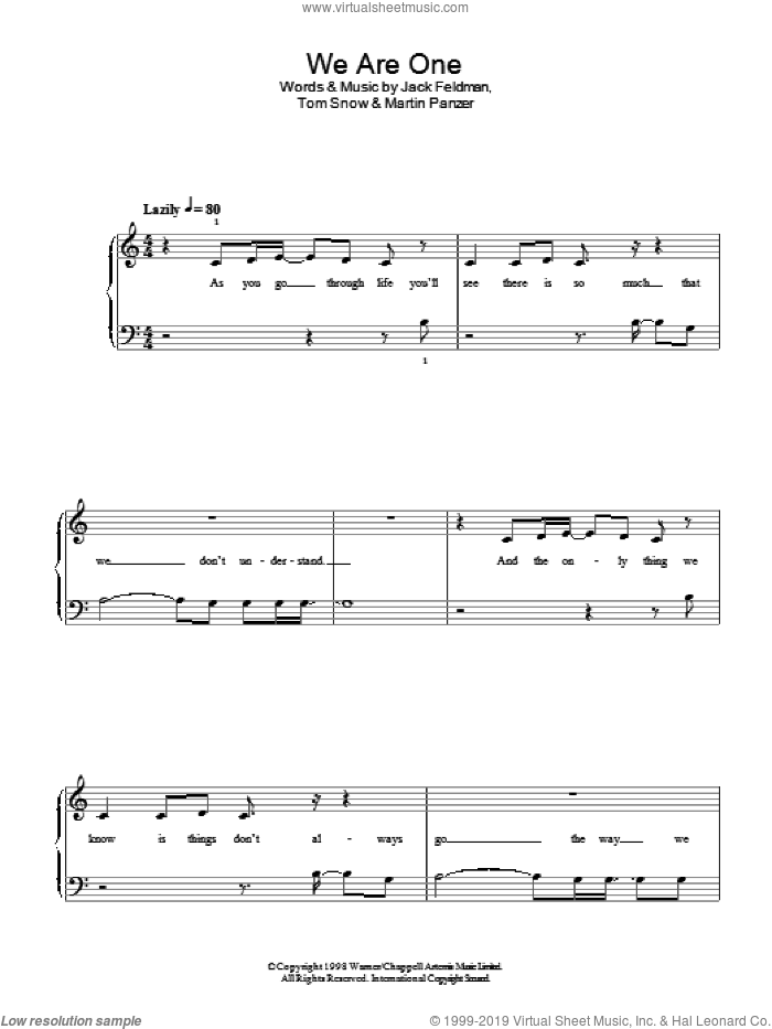 We Are One sheet music for piano solo by Marty Panzer, Jack Feldman and Tom Snow. Score Image Preview.