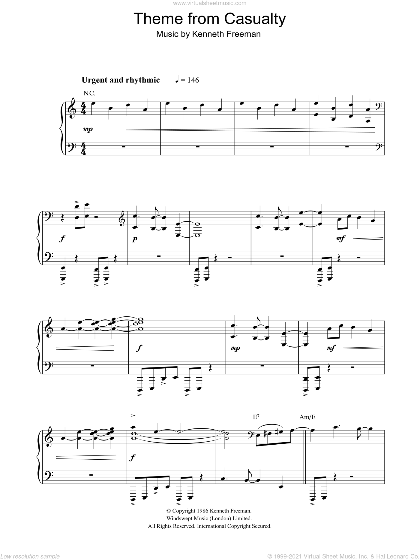 Theme from Casualty sheet music for piano solo by Kenneth Freeman