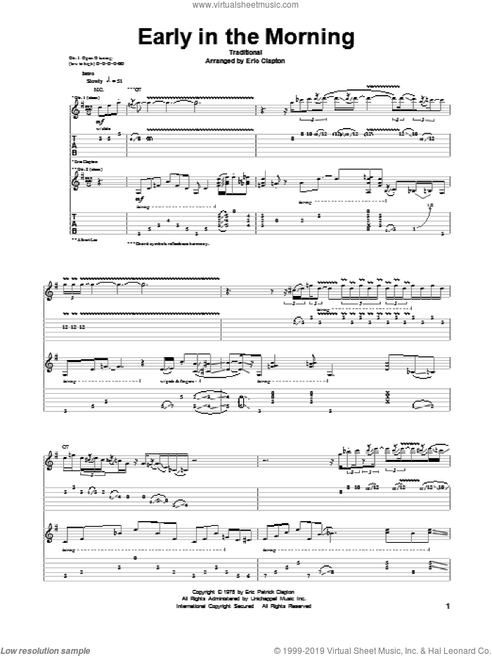 Early In The Morning sheet music for guitar (tablature)