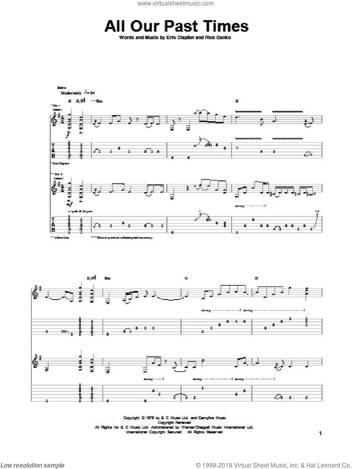 All Our Past Times sheet music for guitar (tablature) by Eric Clapton and Rick Danko, intermediate. Score Image Preview.