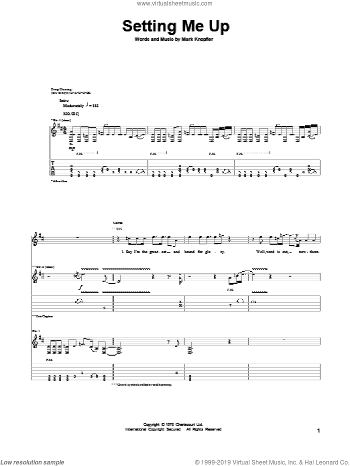 Setting Me Up sheet music for guitar (tablature) by Mark Knopfler and Eric Clapton. Score Image Preview.
