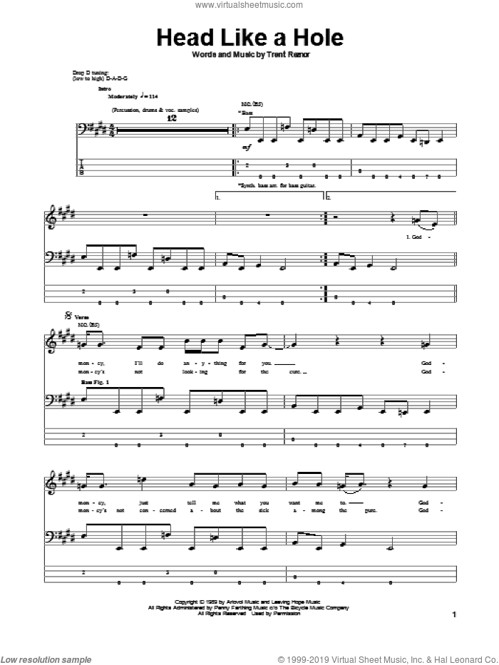 Head Like A Hole sheet music for bass (tablature) (bass guitar) by Trent Reznor. Score Image Preview.