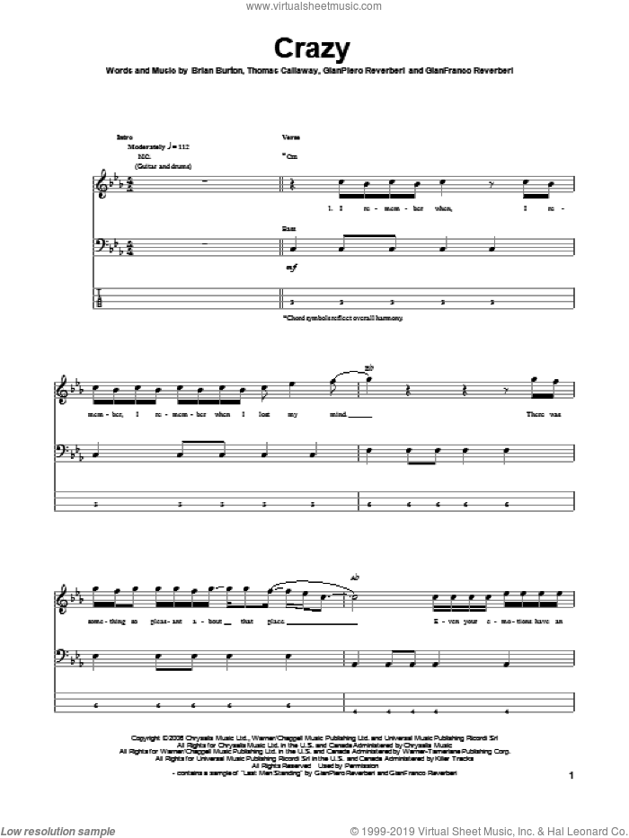 Crazy sheet music for bass (tablature) (bass guitar) by Thomas Callaway, Gnarls Barkley and Brian Burton. Score Image Preview.