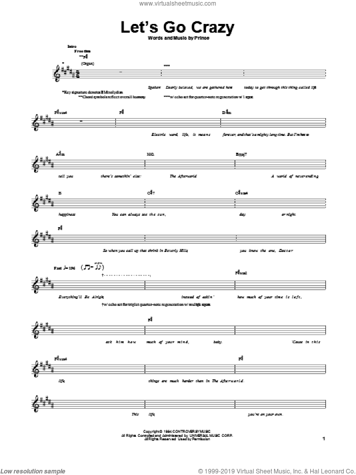 Let's Go Crazy sheet music for bass (tablature) (bass guitar) by Prince, intermediate skill level