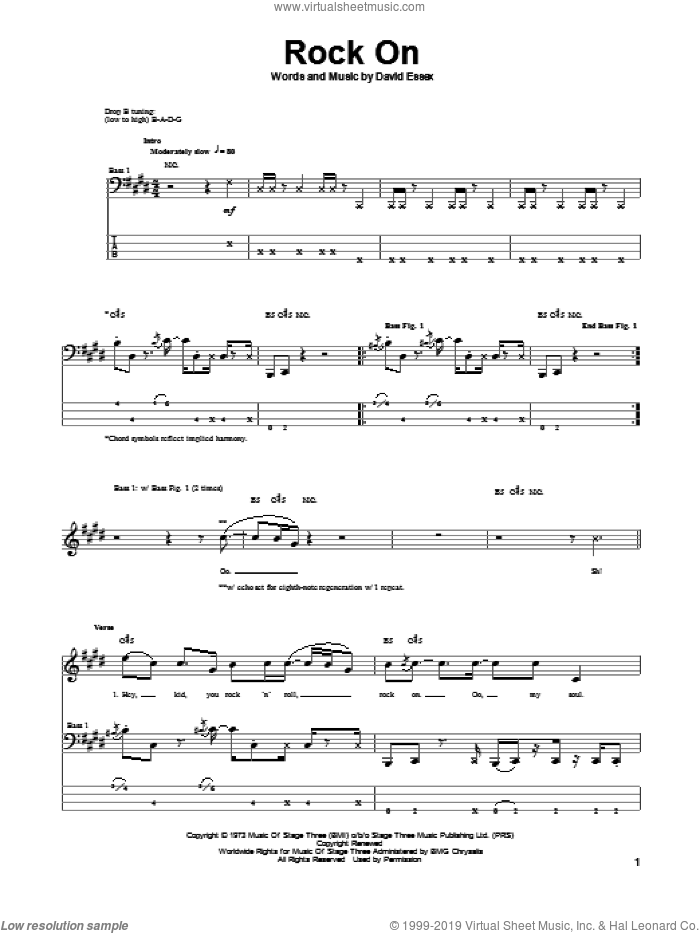 Rock On sheet music for bass (tablature) (bass guitar) by David Essex. Score Image Preview.