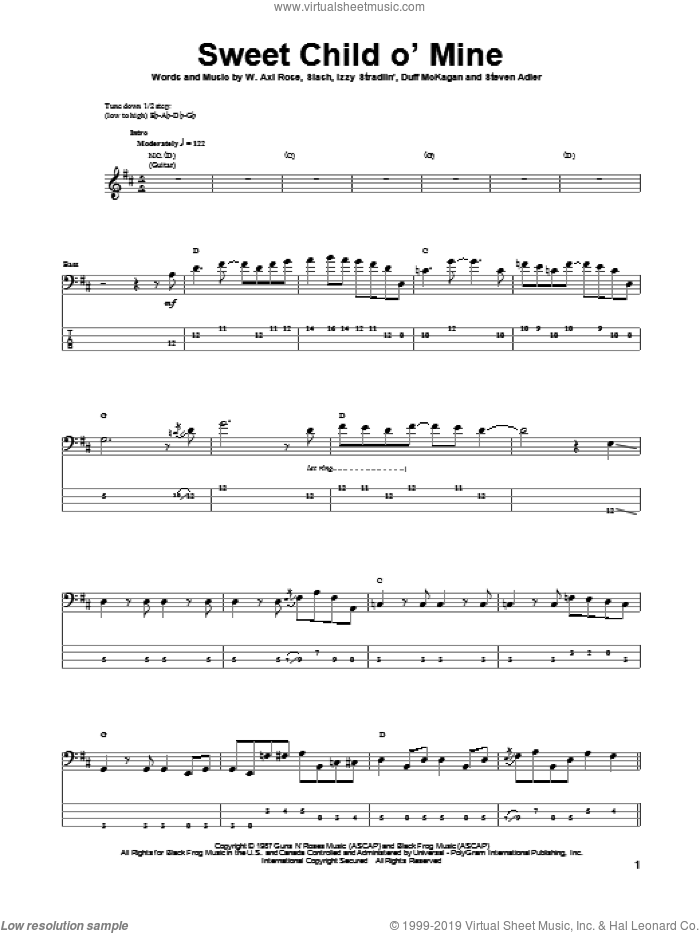 Sweet Child O' Mine sheet music for bass (tablature) (bass guitar) by Axl Rose, Duff McKagan, Slash and Steven Adler. Score Image Preview.