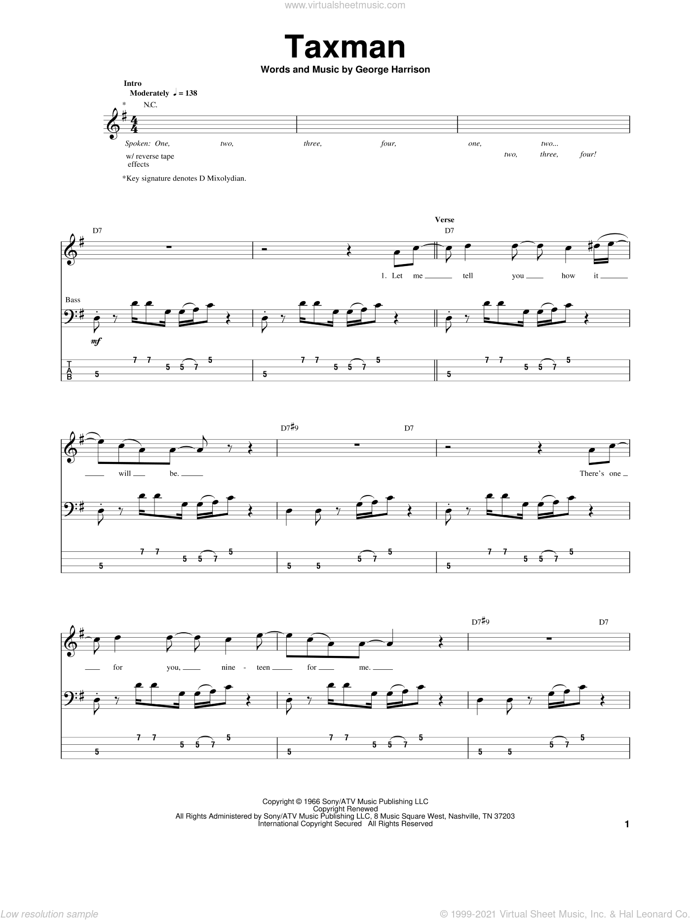 Taxman sheet music for bass (tablature) (bass guitar) by George Harrison