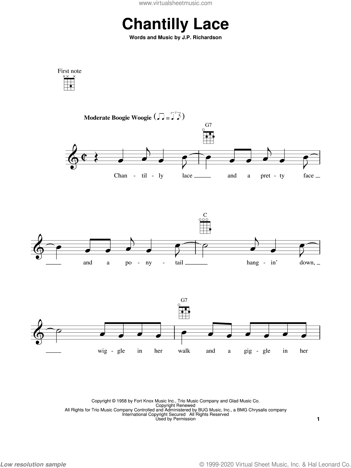 Chantilly Lace sheet music for ukulele by J.P. Richardson. Score Image Preview.