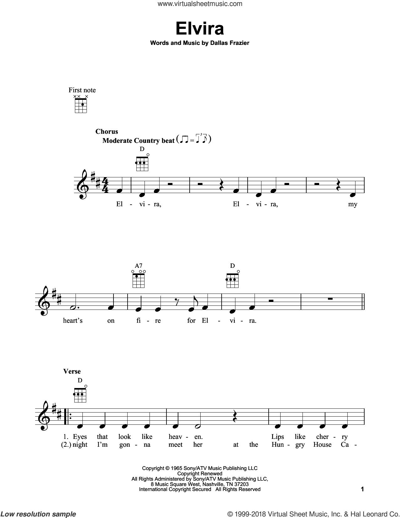 Elvira sheet music for ukulele by Dallas Frazier and Oak Ridge Boys. Score Image Preview.