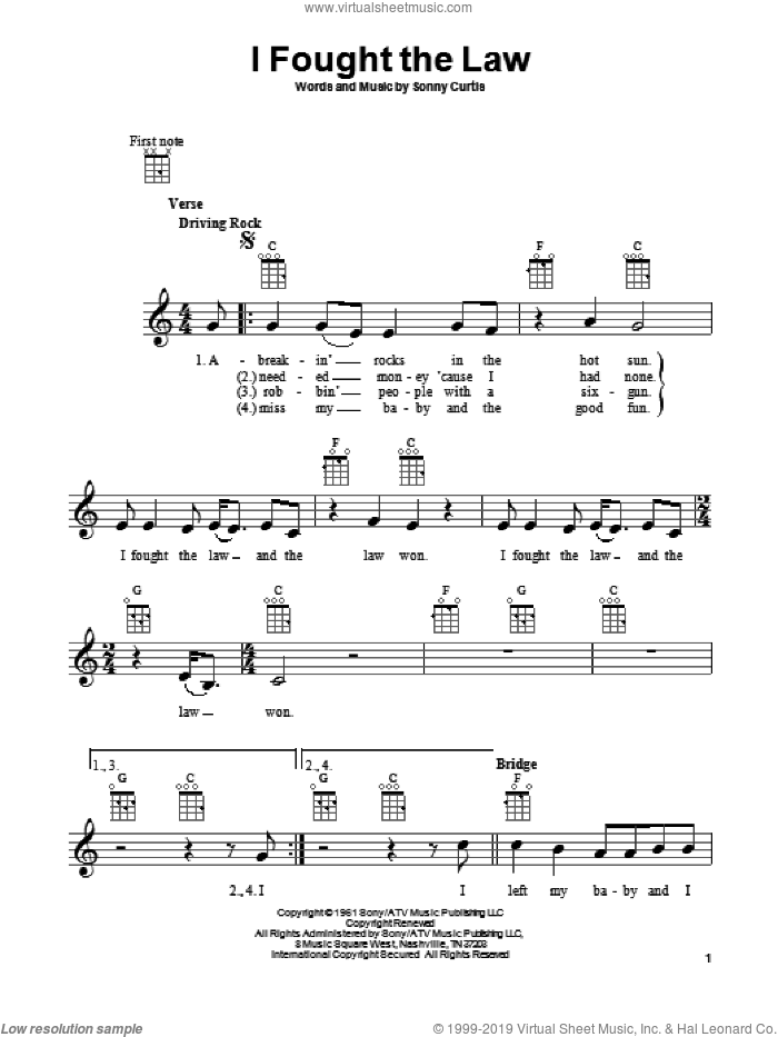 I Fought The Law sheet music for ukulele by Sonny Curtis