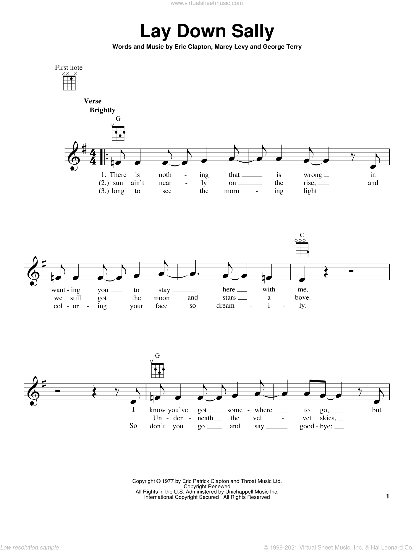 Lay Down Sally sheet music for ukulele by Eric Clapton, George Terry and Marcy Levy, intermediate skill level