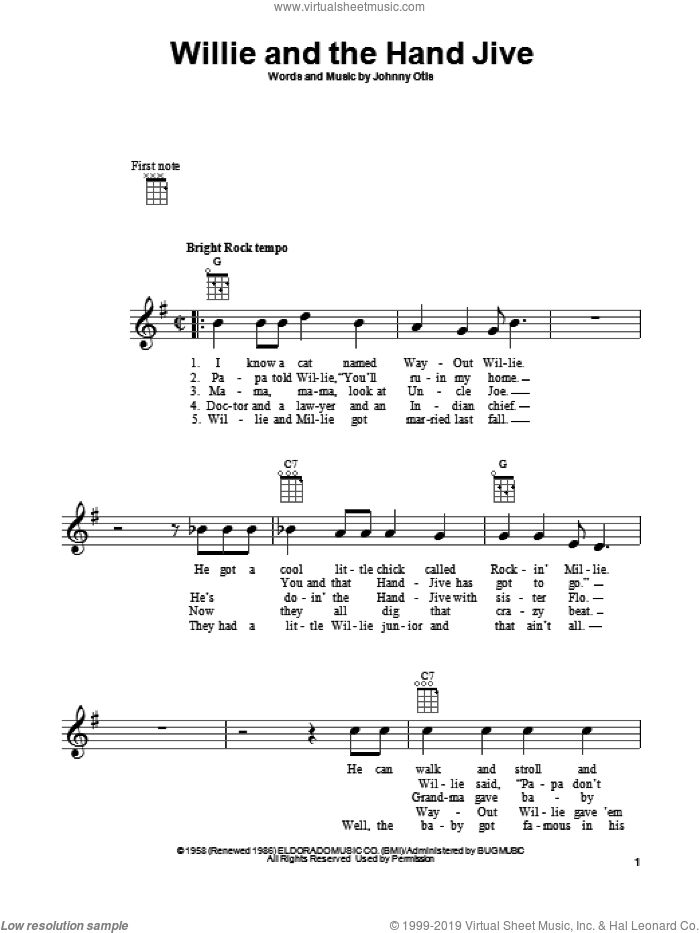 Willie And The Hand Jive sheet music for ukulele by Johnny Otis