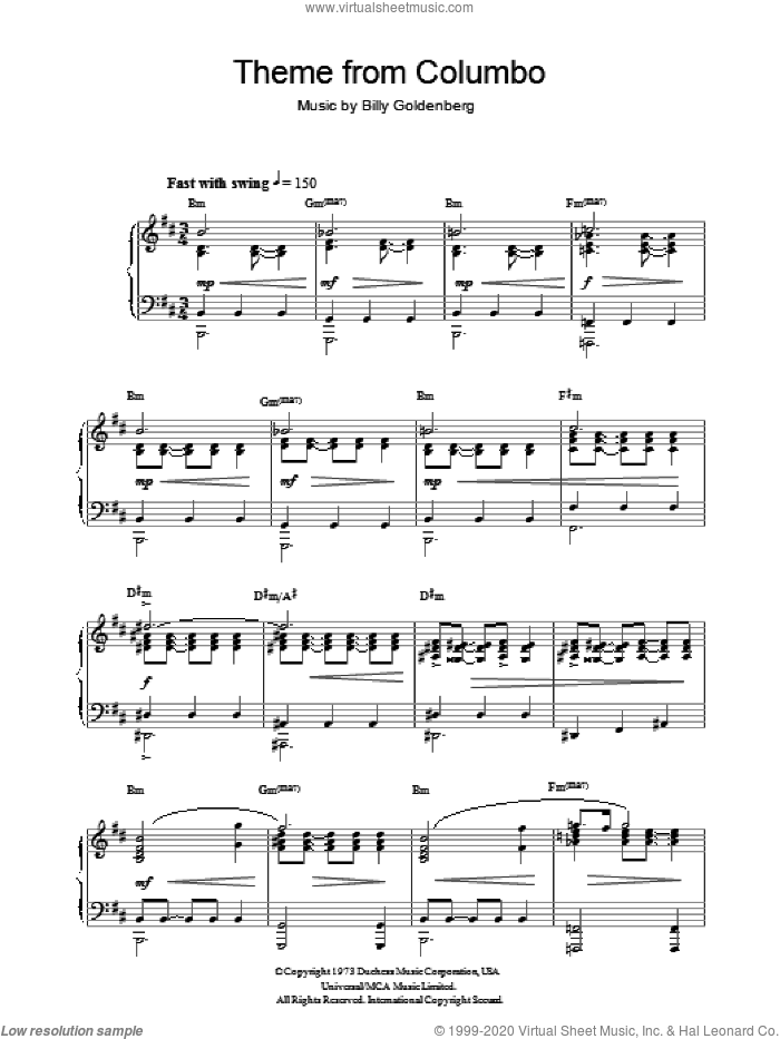 Theme from Columbo sheet music for piano solo by Billy Goldenberg