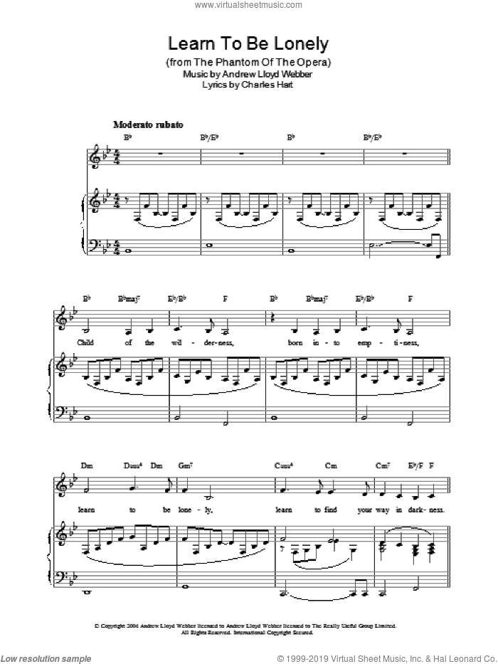 Learn To Be Lonely sheet music for voice, piano or guitar by Charles Hart