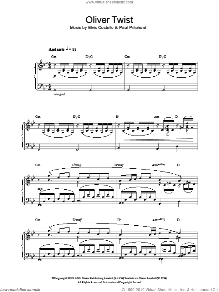 Oliver Twist sheet music for piano solo by Elvis Costello and Paul Pritchard, intermediate skill level