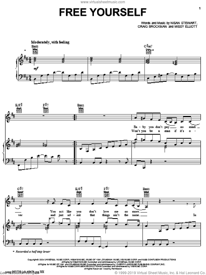Free Yourself sheet music for voice, piano or guitar by Fantasia and Missy Elliott. Score Image Preview.