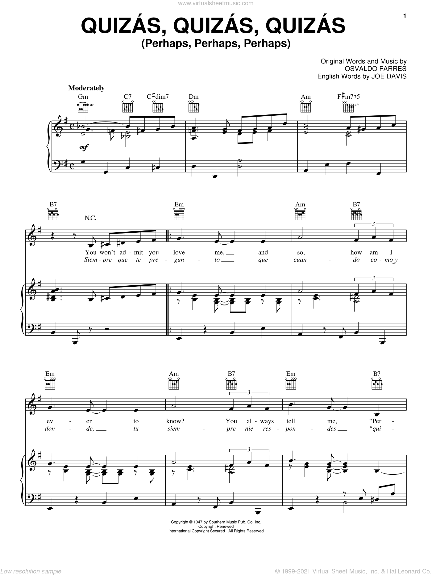 Quizas, Quizas, Quizas (Perhaps, Perhaps, Perhaps) sheet music for voice, piano or guitar by Joe Davis and Osvaldo Farres. Score Image Preview.