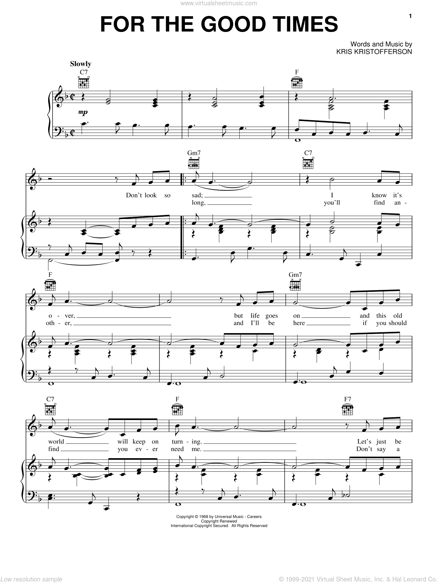 For The Good Times sheet music for voice, piano or guitar by Ray Price, Elvis Presley and Kris Kristofferson, intermediate skill level