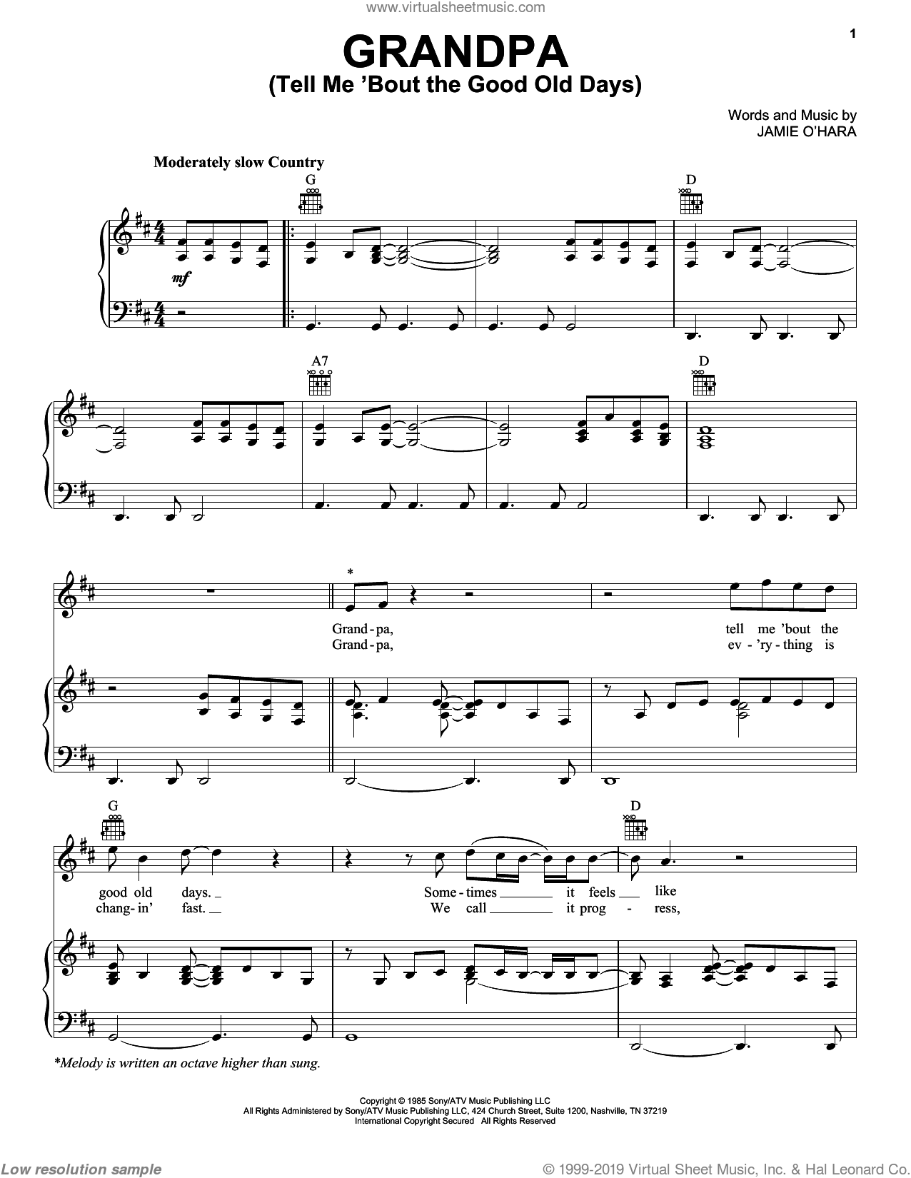 Grandpa (Tell Me 'Bout The Good Old Days) sheet music for voice, piano or guitar by Jamie O'Hara and The Judds. Score Image Preview.