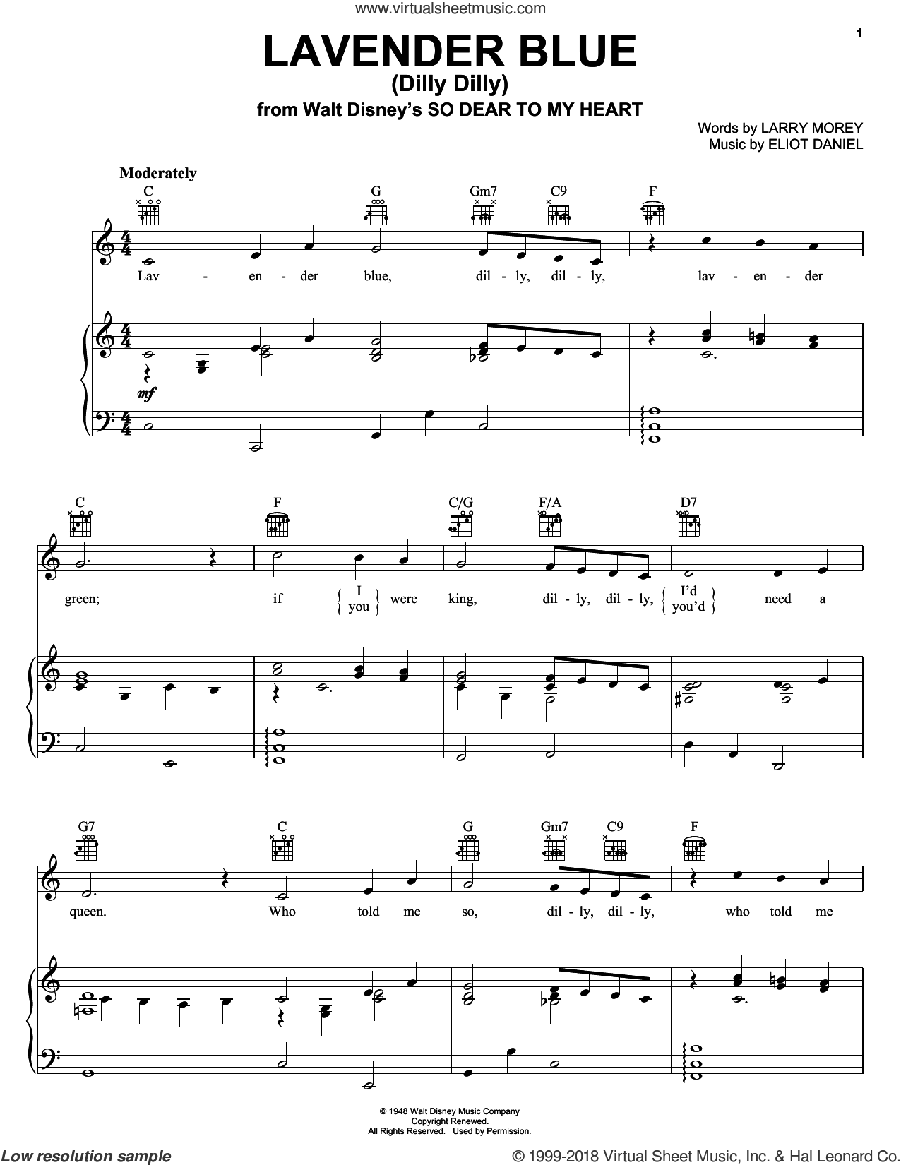 Lavender Blue (Dilly Dilly) sheet music for voice, piano or guitar by Burl Ives, Eliot Daniel and Larry Morey. Score Image Preview.