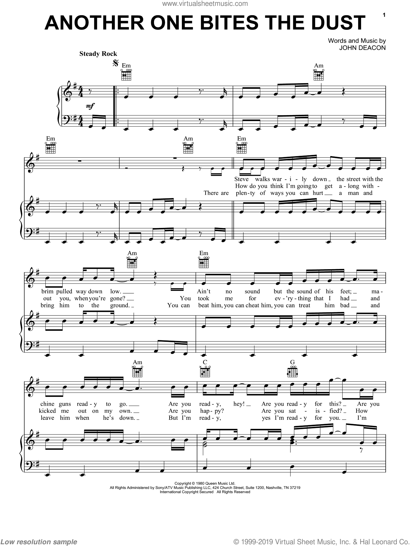 Another One Bites The Dust sheet music for voice, piano or guitar by John Deacon and Queen. Score Image Preview.
