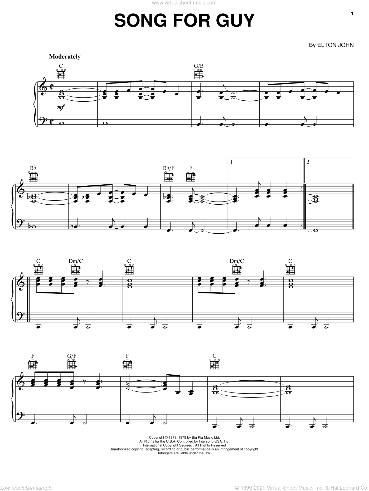 Song For Guy sheet music for voice, piano or guitar by Elton John, intermediate skill level
