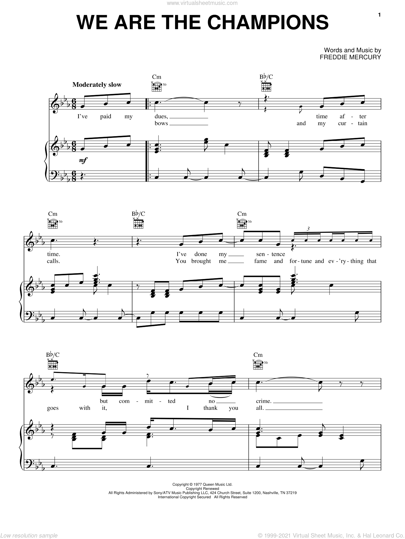 We Are The Champions sheet music for voice, piano or guitar by Queen, Chicken Little (Movie) and Freddie Mercury, intermediate skill level