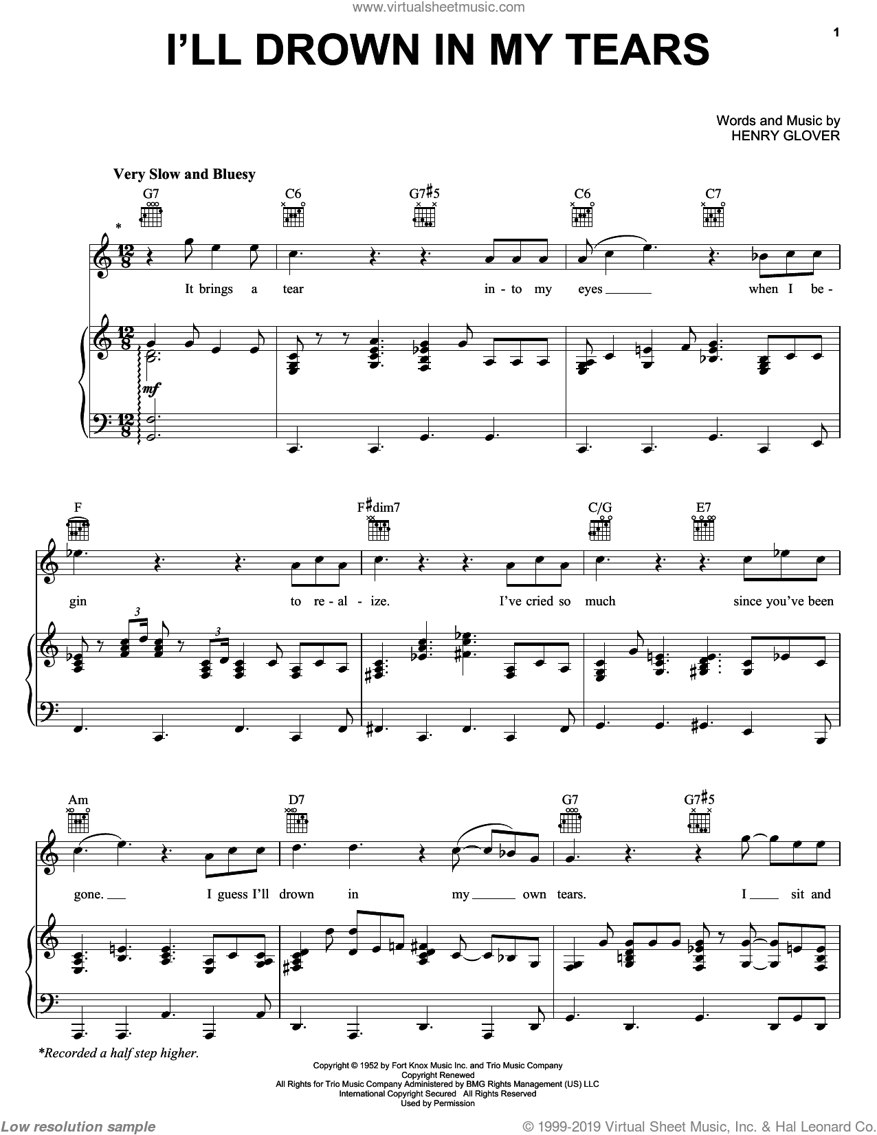 I'll Drown In My Tears sheet music for voice, piano or guitar by Ray Charles. Score Image Preview.