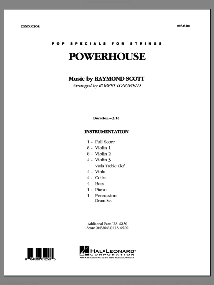 Powerhouse (COMPLETE) sheet music for orchestra by Raymond Scott and Robert Longfield, intermediate skill level